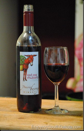 photo of a bottle of Red Ass Rhubarb wine