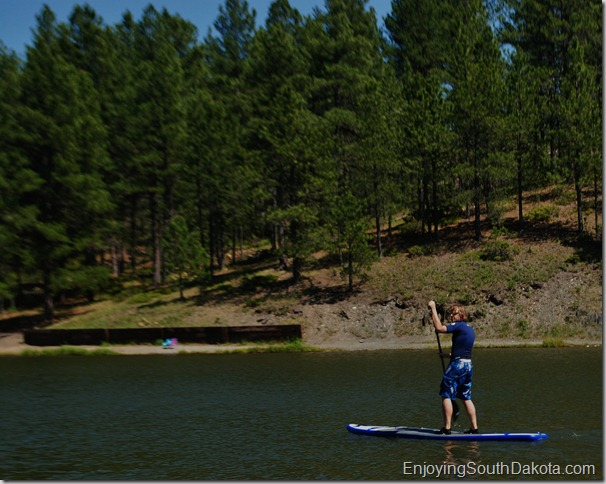 Paddleboarding in the Black Hills National Forest at Roubiax Lake